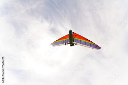 Beautiful color hang glider in the sky