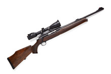 Hunting Rifle Isolated On White Background.