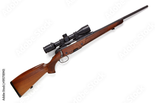 Valokuvatapetti Hunting rifle isolated on white background.