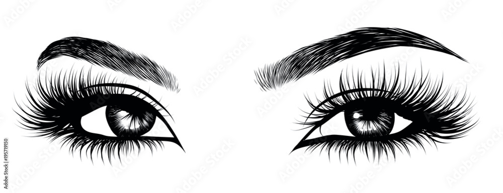 Fototapeta Illustration of woman's sexy luxurious eye with perfectly shaped eyebrows and full lashes. Hand-drawn Idea for business visit card, typography vector. Perfect salon look.