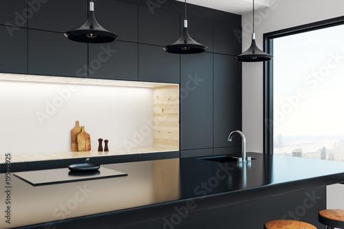 Fototapeta Minimalistic kitchen studio interior obraz