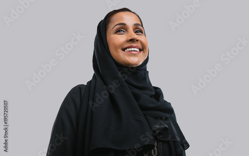 Beautiful middle eastern woman wearing abaja
