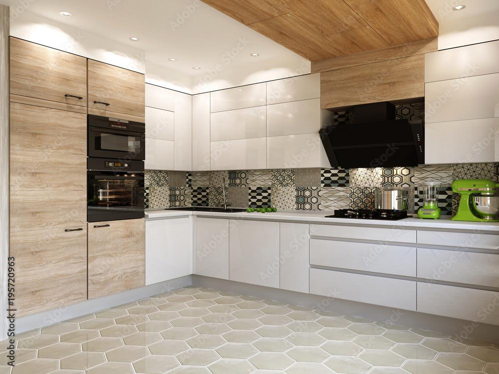 Fototapeta White kitchen contemporary style, 3d images