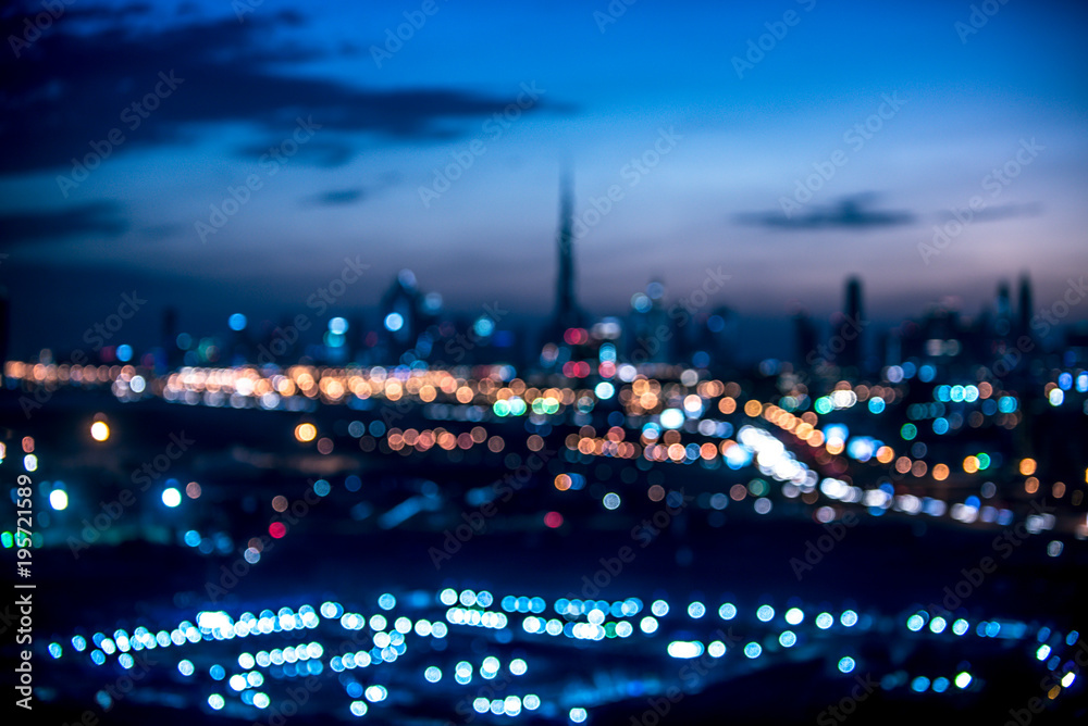 Fototapety, obrazy: Blurred aerial view of Dubai at night time