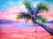 Watercolor Dramatic Tropical Sunset Landscape With Palm And Swing, Vivid Tropical Background