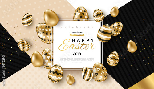 Photo  Easter card with frame and gold ornate eggs