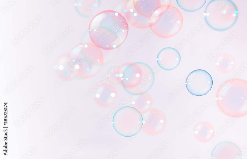 Fototapety, obrazy: Abstract, Beautiful pink soap bubbles floating background.