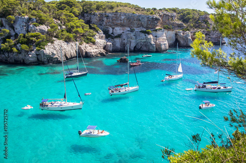 Acrylic Prints Mediterranean Europe Boats and yachts on Macarella beach, Menorca, Spain