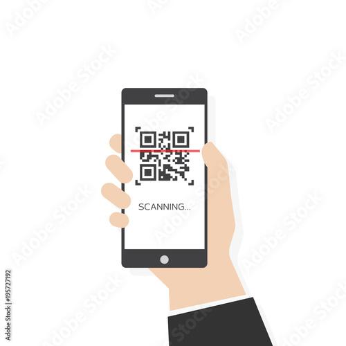 Fotografie, Obraz  Phone scanning qr code vector flat style illustration