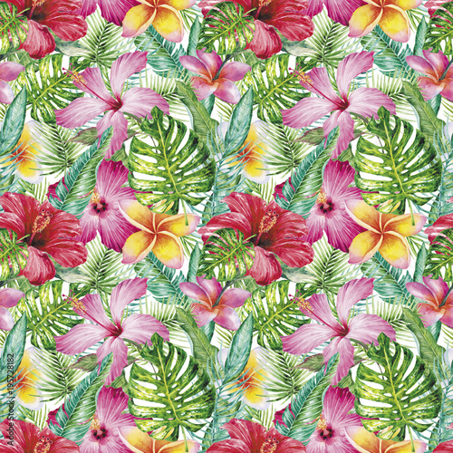Poster Fleur Watercolor hand-drawn seamless texture (pattern) with tropical leaves