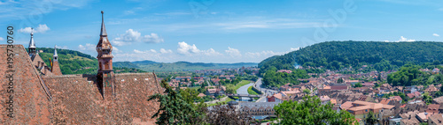 Fotografie, Obraz  Panorama of Sighisoara viewed from the Clock Tower
