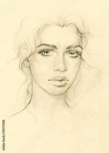 Poster Portrait Aquarelle beautiful woman. fashion illustration.