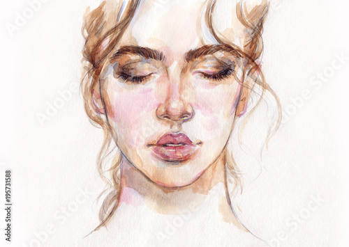 Poster Portrait Aquarelle dreamer. beautiful woman. fashion illustration. watercolor painting