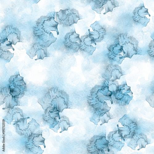 biale-i-niebieskie-wzor-akwarela-plamami