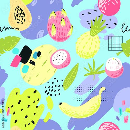 recznie-rysowane-bezszwowe-wzor-z-tropikalnych-owocow-i-abstrakcyjnych-elementow-tlo-odreczne-lato-na-tkaniny-tekstylne-tapety-papier-pakowy-ilustracji-wektorowych
