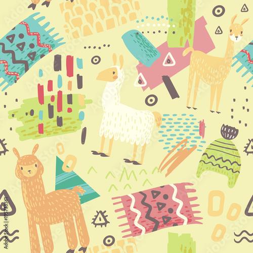 lamas-seamless-pattern-recznie-rysowane-streszczenie-tlo-z-alpaki-do-tkaniny-wlokienniczej-papier-pakowy-ozdoba-ilustracji