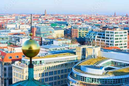 Photo  Cityscape of Berlin with Steeple of Berliner Dom Cathedral