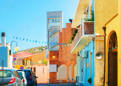 Street with old houses in Villasimius Cagliary province South Sardinia
