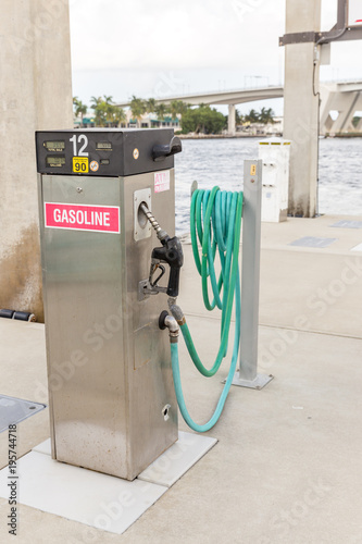 Spoed Foto op Canvas Natuur Gas station for ships and boats in the harbor. diesel dispenser. Energy and power concept.