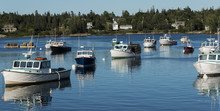 Fishing Boats Moored In Bass Harbor Maine At Dusk