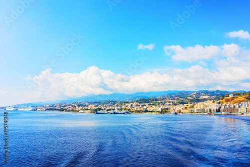 Cityscape of Messina at  Mediterranean Sea Sicily Wallpaper Mural