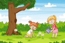 Two Girls In The Garden. Funny Cartoon Character.