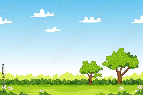 Cartoon summer landscape with trees