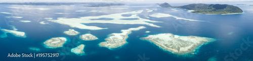 Aerial of Raja Ampat Reefs Panoramic Landscape