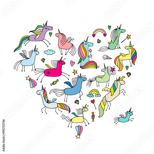 Fotobehang Draw Magic unicorns collection, heart shape for your design