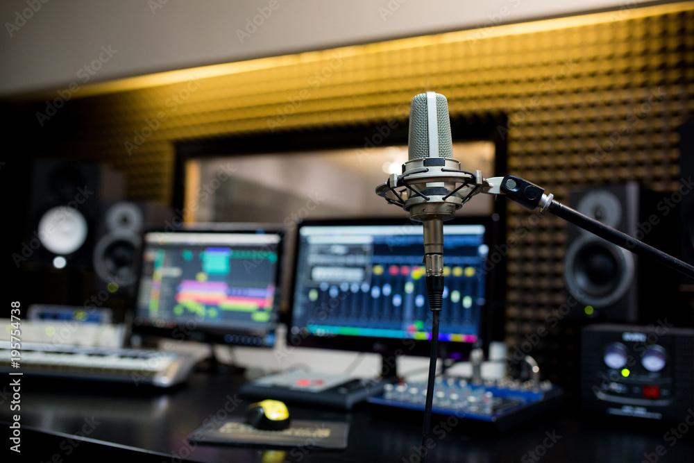 Fototapeta Professional microphone in the recording studio.