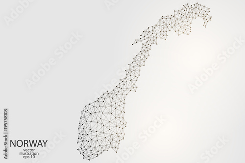 Photo  Norway map consisting of 3D triangles, lines, points and connections