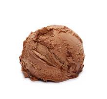 Chocolate Ice Cream Ball Isolated On White Background