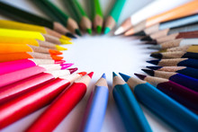 Multicolor Pencils Forming A C...