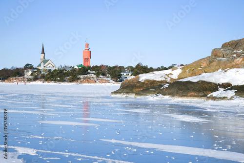 In de dag Noord Europa The blue ice of the Gulf of Finland near the Hanko. Finland