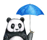 Little panda under blue umbrella, rainy day illustration. Hand drawn water color graphic painting on white background, cutout. Funny print design. Miss you, waiting for you, thinking expression. - 195761578