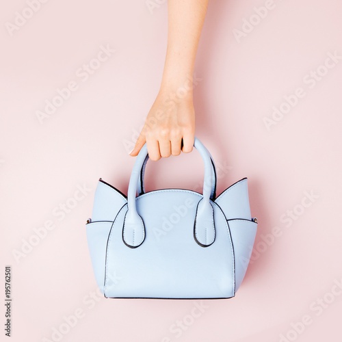 Fotografie, Obraz  Female hands holds handbag on pink  background