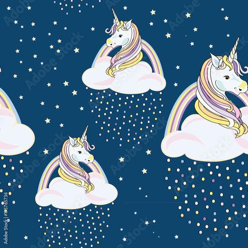 jednorozce-z-chmurami-i-kolorowych-kropli-szwu-ilustracja-wektorowa-na-niebieskim