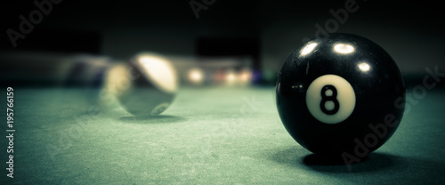 Fotografia Pool game. Billiard balls on green table