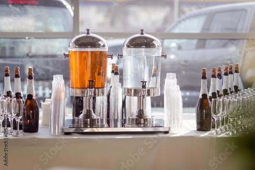 Foto op Aluminium Milkshake fruit refreshing drink lemonade in glass barrels