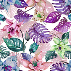 Fototapeta Egzotyczne Beautiful aquilegia columbine flowers and exotic monstera leaves on white background. Watercolor painting. Tropical seamless floral pattern.