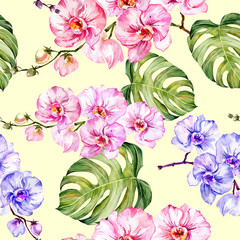 Panel Szklany Podświetlane Do łazienki Blue and pink orchid flowers and monstera leaves on light yellow background. Seamless floral pattern. Watercolor painting. Hand drawn illustration. Design for fabric, wallpaper, wrapping paper.