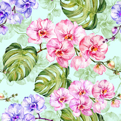Panel Szklany Storczyki Blue and pink orchid flowers with outlines and large green monstera leaves on light blue background. Seamless pattern. Watercolor painting. Hand drawn