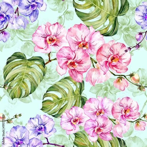 niebieskie-i-rozowe-kwiaty-orchidei-z-konturami-i-duze-zielone-monstera-pozostawia-na-jasnoniebieskim-tle-wzor-malarstwo-akwarelowe