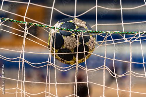 Obraz na płótnie The ball in the gates for handball