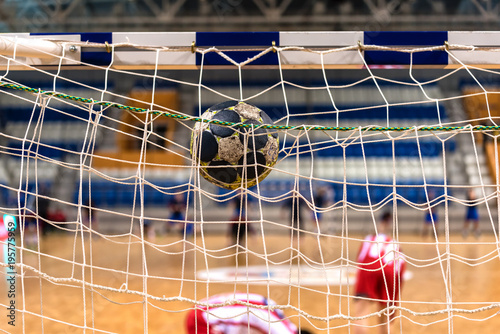Tablou Canvas The ball in the gates for handball