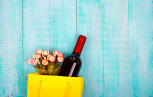 Bottle Of Wine And Flowers In ...