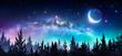 Leinwanddruck Bild - Milky Way And Moon In Night Forest
