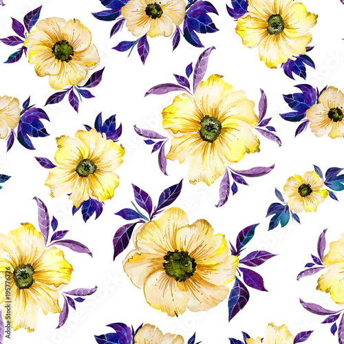 Beautiful Yellow Flowers With Purple Leaves On White Background