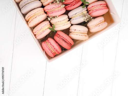Deurstickers Macarons Macarons pattern on white background