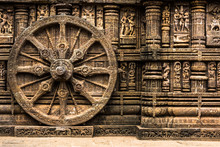 Carved Chariot Wheel On Konark...